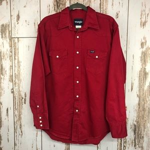 Wrangler Canvas Shirt, Pearl Snaps, Size Large